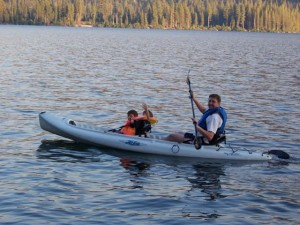 Kayaking in Donner Lake with my sons