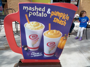 Picture of a Jamba Juice sign announcing mashed potato and pumpkin smash smoothies